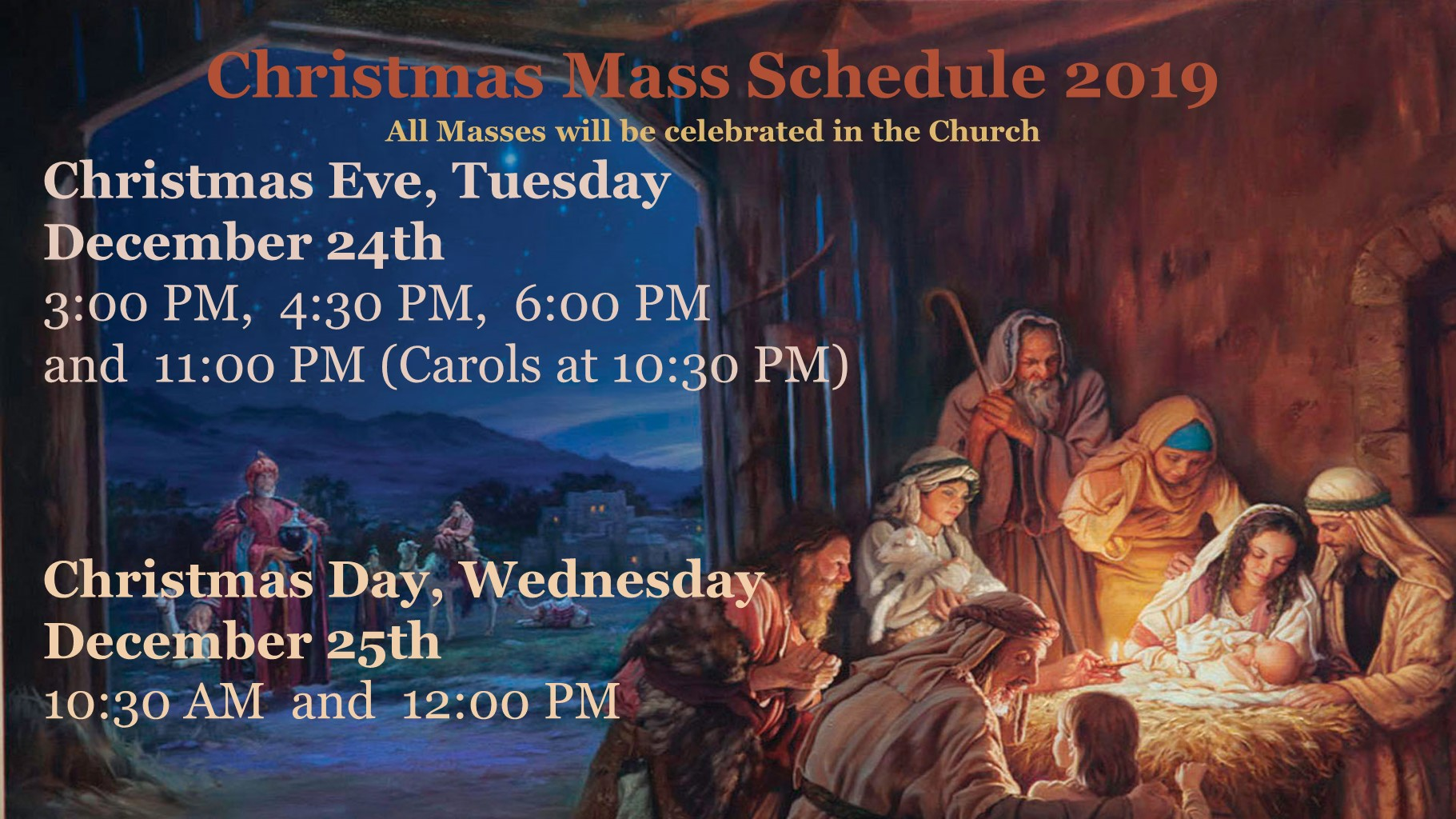 2019 Christmas Schedule